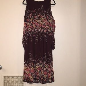 Maroon floral midi dress with shoulder cut outs